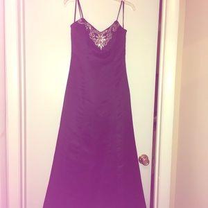 Black satin evening gown sweetheart neckline